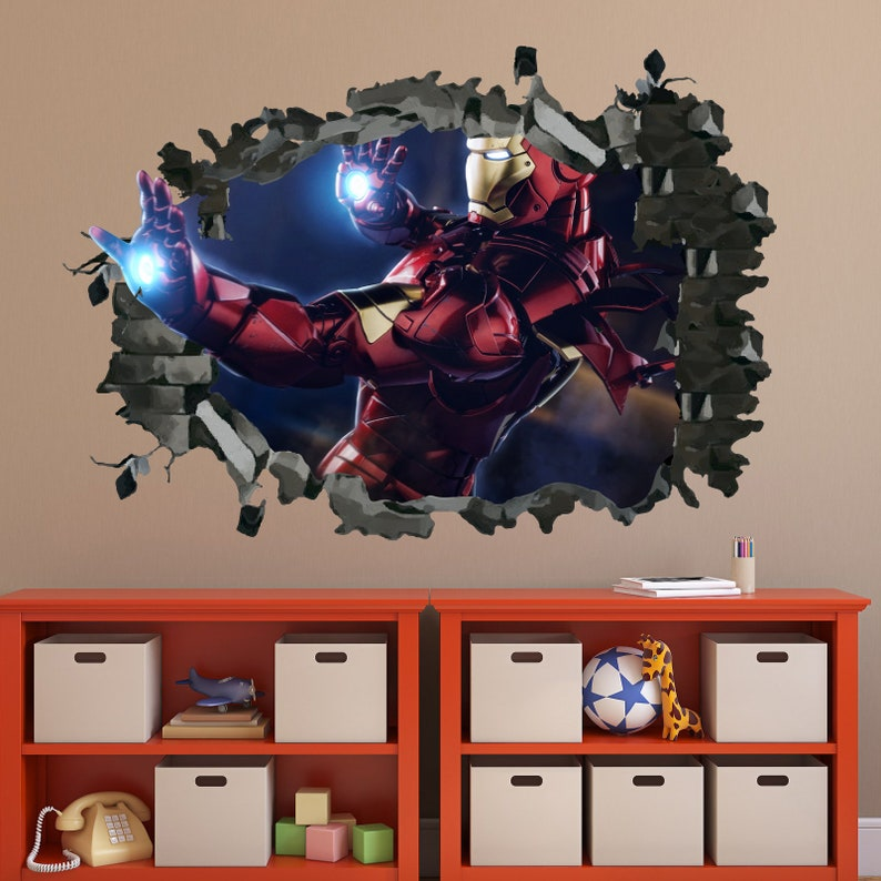 Nursery Wall Decal  DD285 Iron Man Wall Decal Hole In The Wall Avengers Decal 3D Smashed Sticker Iron Man Sticker Boy Room Decor