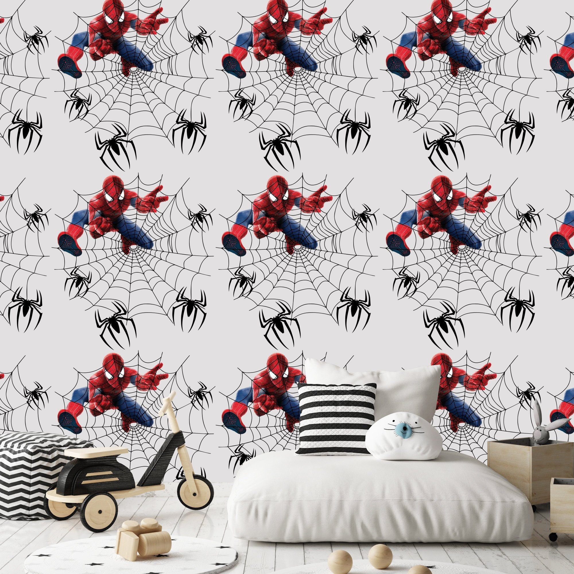 Removable Wallpaper Nursery Boy Spiderman Wallpaper Boys Room Spiderman Wallpaper Spiderman Nursery Decor Marvel Wall Decal Kids M6