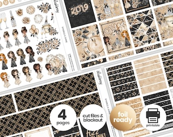 New Year Printable Weekly Kit, New Year Stickers, Winter Weekly Stickers, Weekly Sticker Kit, New Year Planner, Holiday Stickers