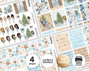 Christmas Printable Weekly Kit, Winter Stickers, Christmas Weekly Stickers, Weekly Sticker Kit, Winter Planner, Christmas Dolls