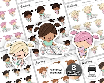 Functional Dolls Printable Stickers, Planner Girl Stickers, Planning Stickers, Happy Mail Stickers, Happy Mail Printable, Planner Dolls