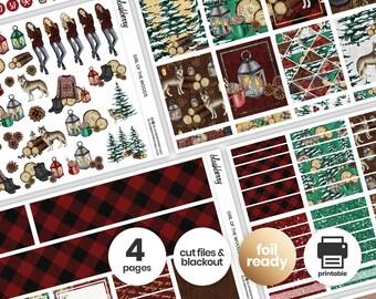 Lumberjack Printable Weekly Kit, Winter Stickers, Christmas Weekly Stickers, Weekly Sticker Kit, Winter Planner, Lumberjack Girl