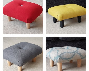 Tremendous Small Footstool Etsy Machost Co Dining Chair Design Ideas Machostcouk