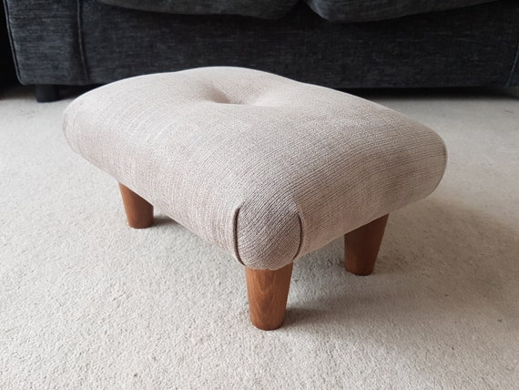 19 cm Low buttoned Footstool  upholstered footstool foot stool  upholstered foot stool  handmade footstool  handcrafted footstool