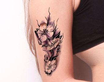 4f5c2cdfd White Flower Temporary Tattoo-Colorful Temporary Tattoo- Flower Temporary  Tattoo -Boho Temporary Tattoo-White Floral Tattoos