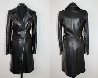 23e24e75 VINTAGE 90s RARE Dolce & Gabbana Designer Heavy Metal Glam Goth Rock Style  Black Leather Biker Motorcycle Trench Jacket Coat. Small