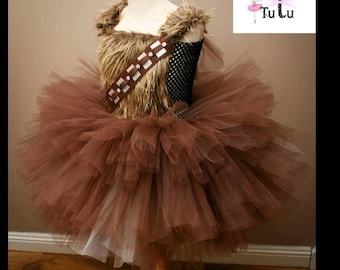 35ae64ac0a6 Chewbacca Star Wars Inspired Tutu Dress Knee Length Plain Tulle Girls  Costume Birthday Outfit Christmas Halloween Chewie