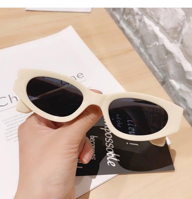 Small Cat Eye Sunglasses Woman Vintage Oval Eyewear Beige gray  Glasses Shades UV400