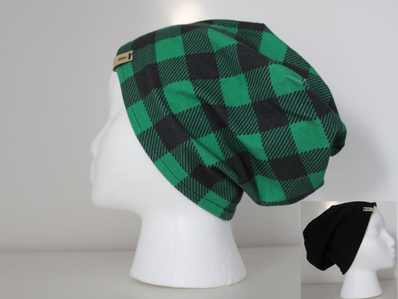 26a519a21ed Reversible Green Buffalo Plaid and Black Slouchy Beanie Hat