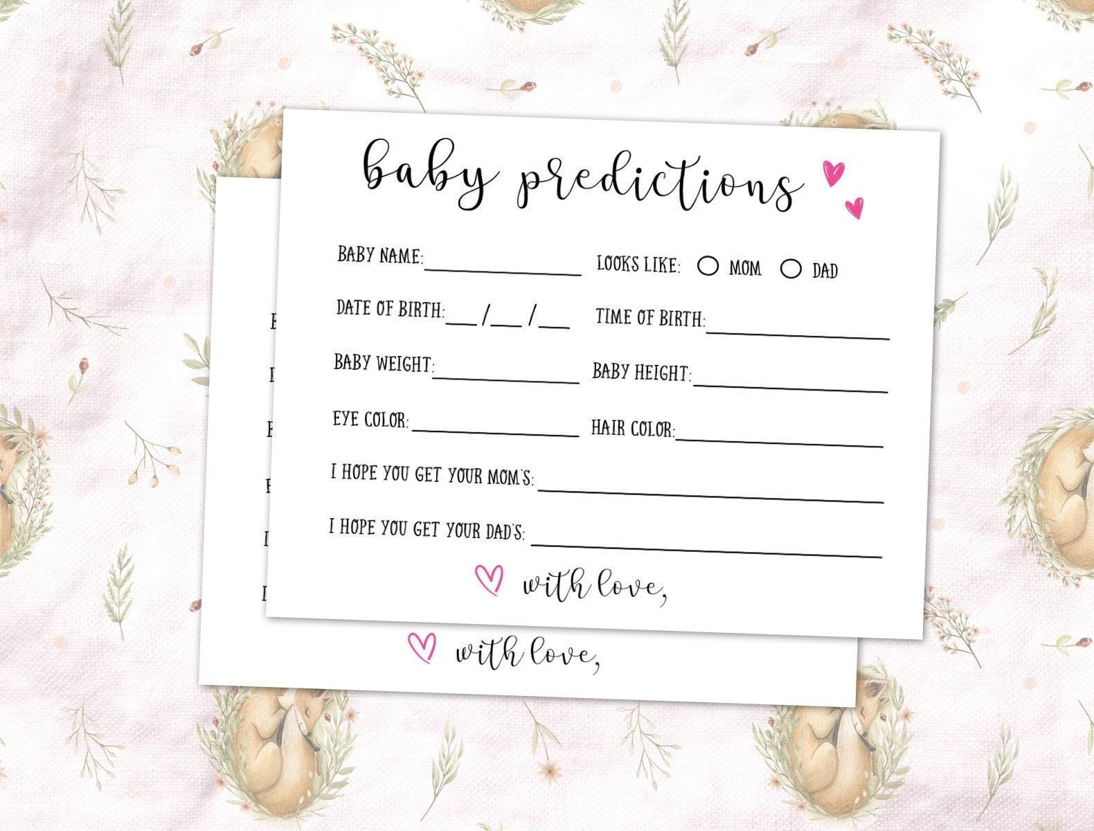 Baby Prediction Cards, Baby Predictions, Baby Prediction Download,  Printable, Baby Shower Games, Woodsy, Pink Baby Shower, DIY Digital PDF