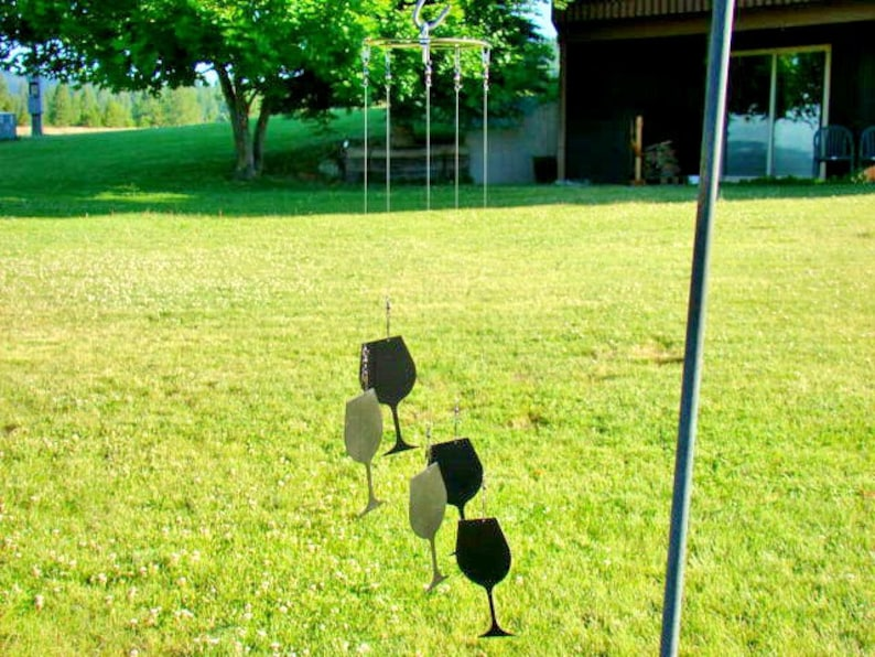 Wine glass wind chimes made from metal