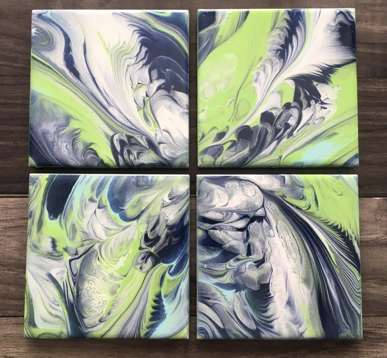 Acrylic Paint Pour Coasters - Set of 4 Ceramic Tiles, Glossy Finish Fluid  Art Abstract Home Decor