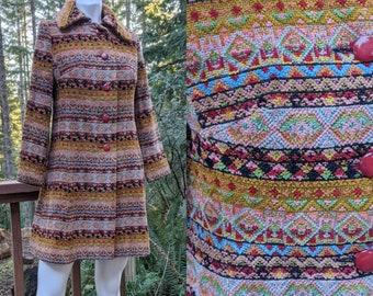 Vintage 1960s Custom Woven Wool Confetti SILK Tapestry Coat Carmel By the Sea California Sand Crabs Lobsters  US 8 10 Medium Large