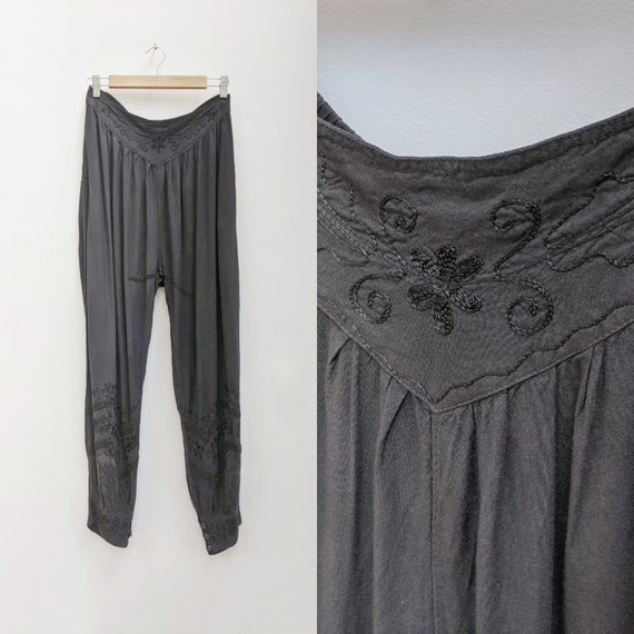 Black Embroidered Harem Pants // vintage boho pant