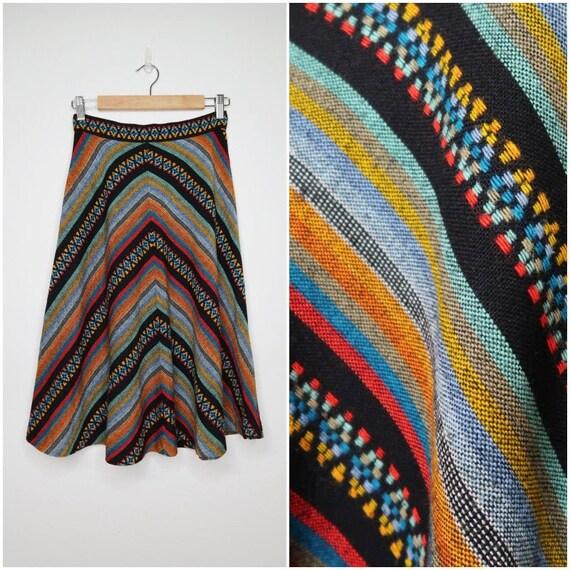 1970s Chevron Skirt // vintage 70s skirt, 1970s Al