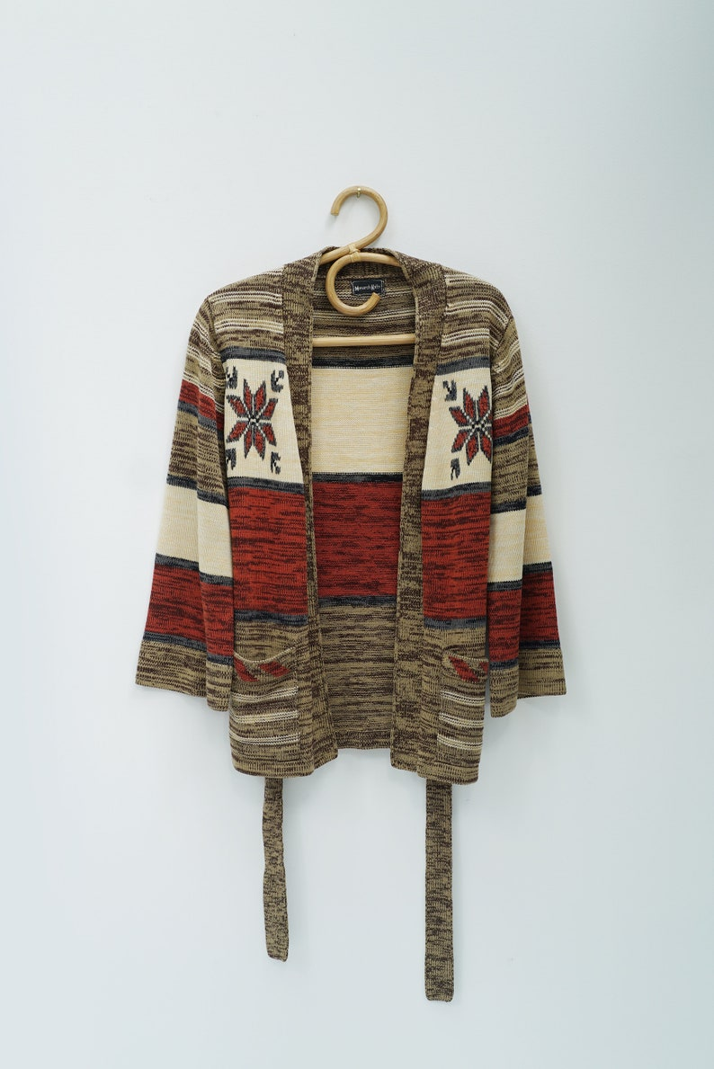 SPACE DYE CARDIGAN  vintage 70s southwestern sweater  1970s hippie boho bell sleeve top  small medium s m