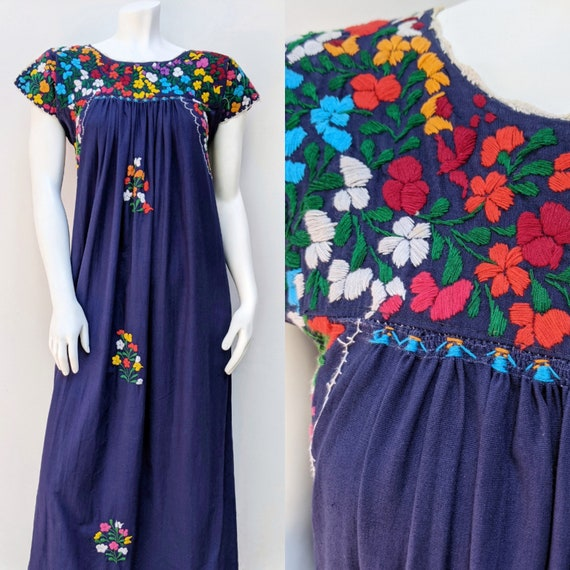 Embroidered Mexican Maxi Dress // vintage embroid… - image 1