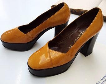 04965ba5d82b Original Vintage French 1970s JB Martin Patent Disco Heels Platforms -  Mustard Chocolate Brown - Size 2 - MINT
