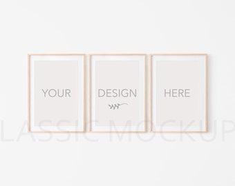 Download Free 20*28, 50*70, A3, A4, Set of 3 Portrait Wooden frame mockup. 3 frame mockups, mock up, smart object, PSD, poster mockup, empty, clean, #012 PSD Template