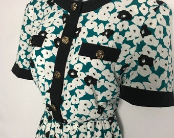 bd90e4f867aa Womens floral vintage tea dress 80s does 50s short sleeve gold button down  stretch waist teal blue black white WW2 landgirl for her