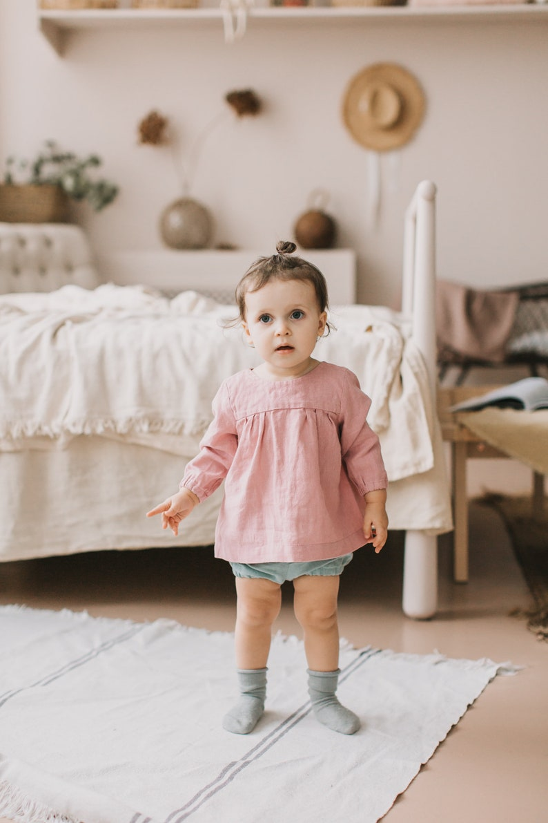 Toddler linen clothes Outfit for baby Pink blouse for girls Baby tunic top as girl linen clothes Birthday gift for girl
