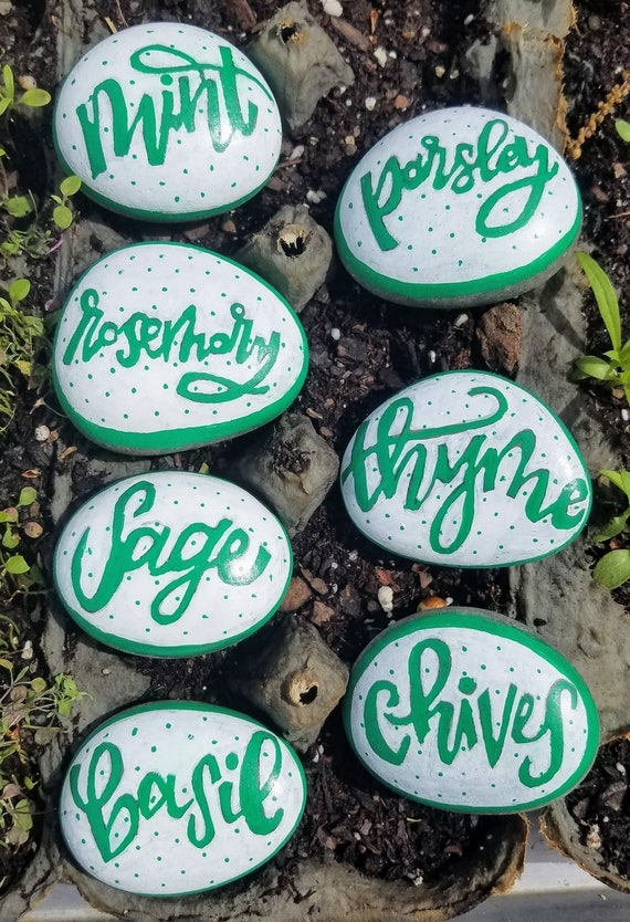 Original Sculpted Hand Painted Herb Garden Markers Choose Your Herb!