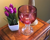 Ruby Flash Stain Hoffman House Style Glass Goblet, Clear Stem, 7.5 quot Tall, Heavy