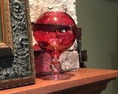 Ruby Flash Stain Round Globe Goblet, Clear Glass Ruffled Rim, Clear Stem, 8 quot Tall