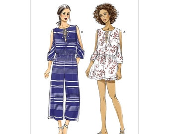 086f135e0541 Vogue V9260 Misses  Romper and Jumpsuit with Cold Shoulder and Lace-Up  Neckline Sewing Pattern Size 4-14 or 16-26   Uncut FF