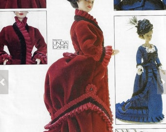 Historical Doll Clothes Pattern  Vogue 685  for 11 12 doll  Unused  ca 1870s Victorian dresses overskirt hats