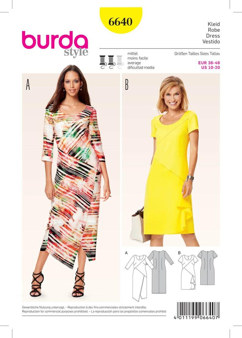 4331f50e6f4c8 Burda 6640 Misses Wrap Look Dresses Sewing Pattern Plus Size | Etsy