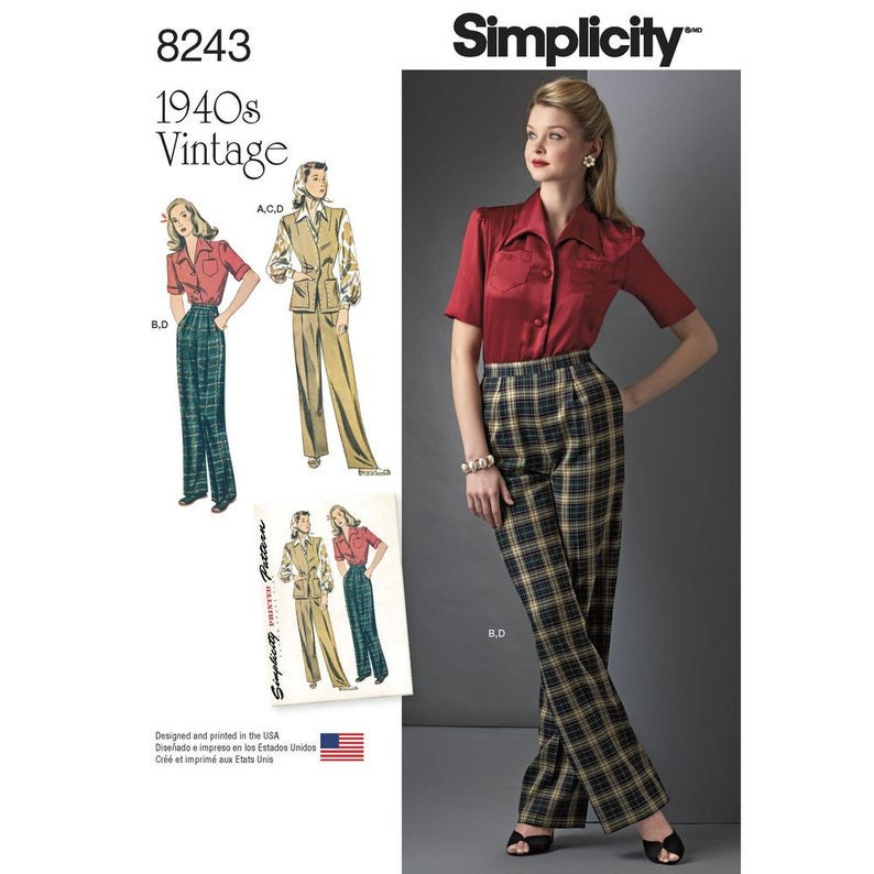 1940s Fabrics and Colors in Fashion Simplicity 8243 Misses 1940s Vintage Sportswear Blouse Hip Length Vest & Pleated Trousers Sewing Pattern Size 6-14 or 16 - 24/ Uncut FF $7.95 AT vintagedancer.com