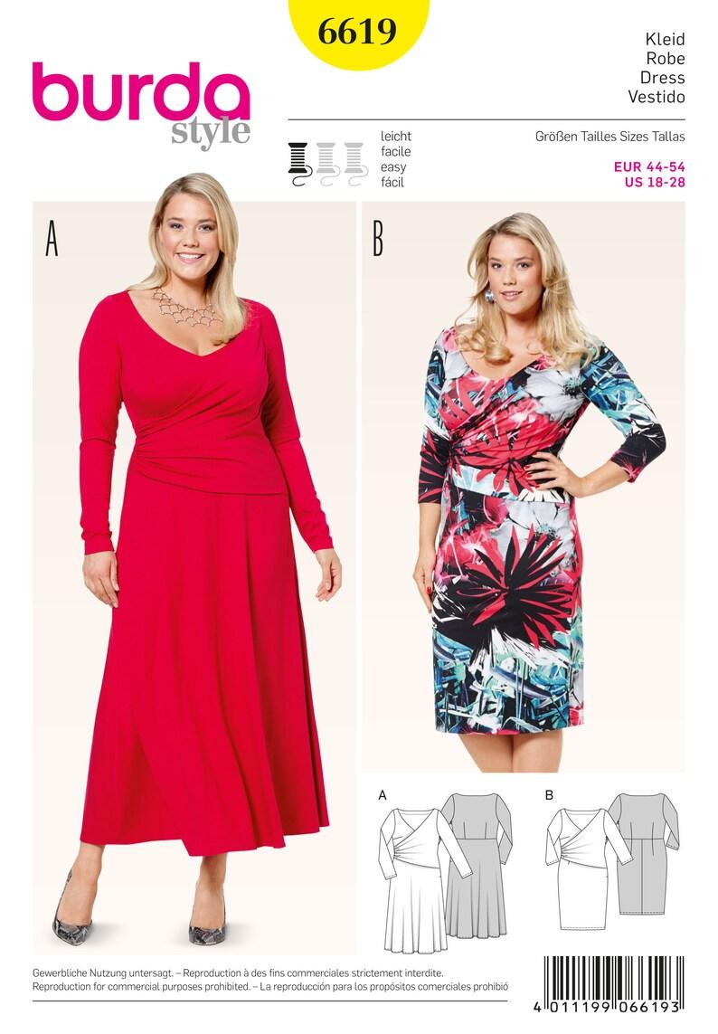 Burda Style Pattern 6619 Women\'s Plus Size Dress Wrap | Etsy