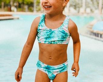 e1f9cd2dbc Cabana Bikini / baby infant toddler girl / palm lead / pink / neon /  tropical / sibling set / simple bikini / paradise / vacation must have