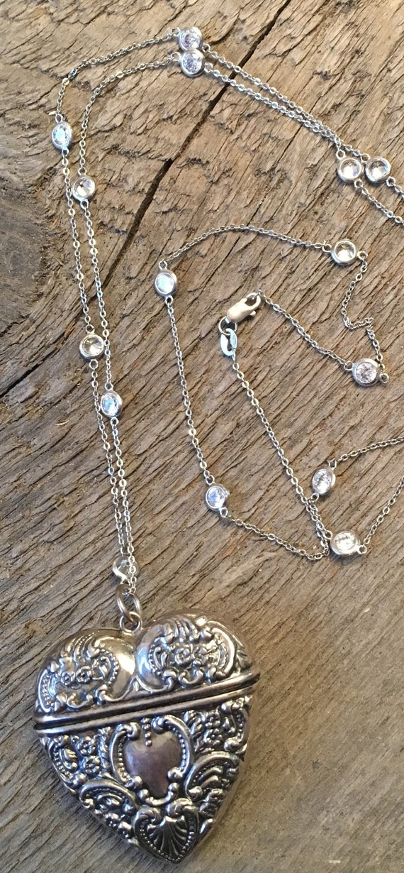 Victorian Embossed Heart Chatelaine Necklace
