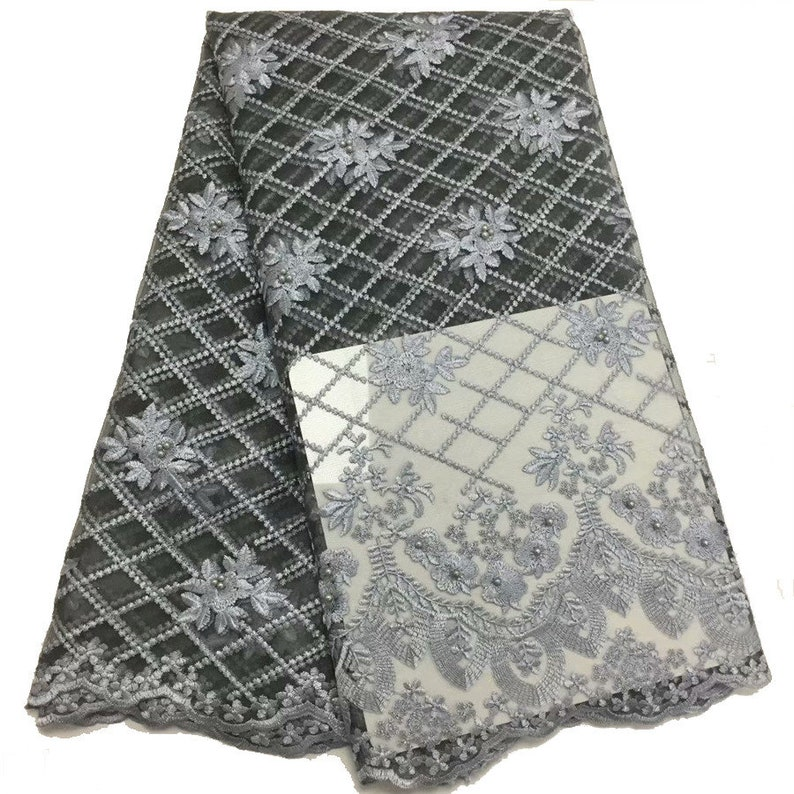 Grey French Laces Fabrics High Quality Tulle African beads Lace Fabric For Wedding Nigerian Tulle Lace Material