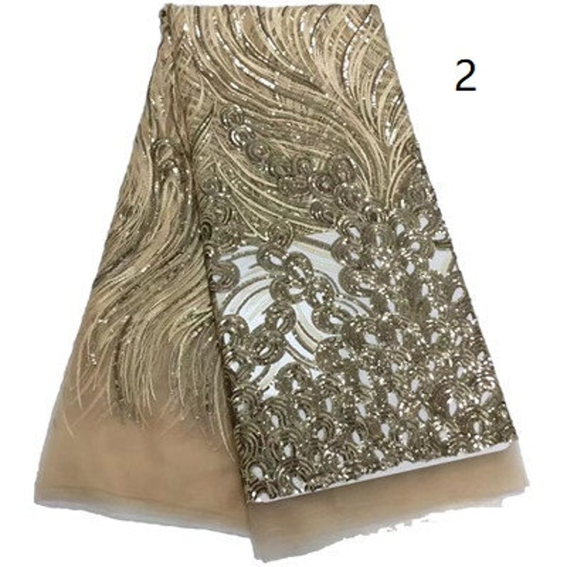 African Sequins Lace Fabric Embroidered Nigerian Net Laces Fabric Bridal High Quality French Tulle Lace Fabric 5 Yards