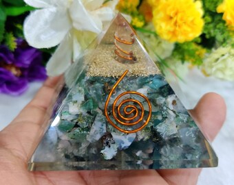Moss Agate Stone Orgone Pyramid 50 MM Abundance, Agriculture, Growth, New Beginnings, Small Businesses, Birthing Midwifery Stone,Gift