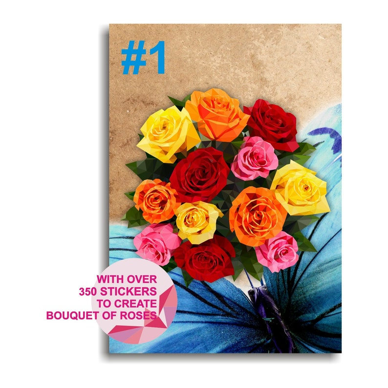 Sticker by number Adult coloring page ROSES  Wishes Greeting Card Puzzle for adult Craft kit for teens Coloring kit Adult craft kit