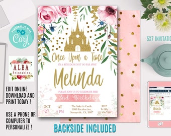 Editable Princess Invitation INSTANT DOWNLOAD EDITABLE Birthday Party
