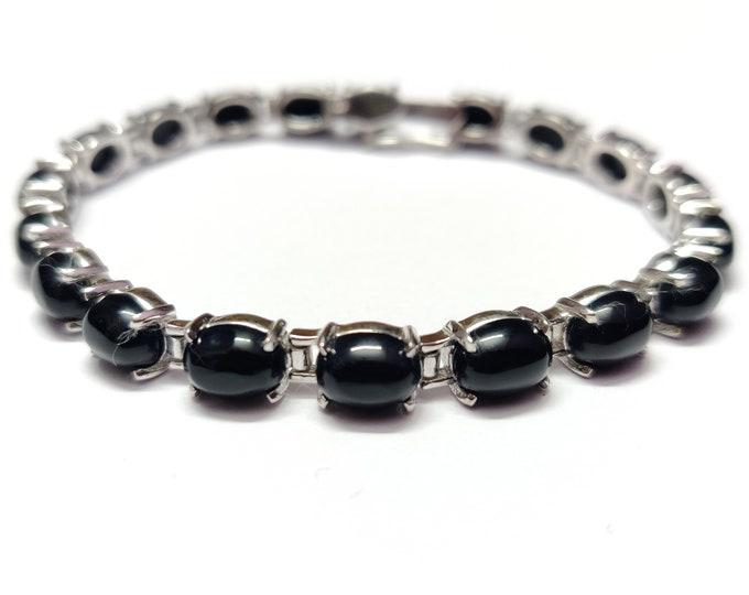 Black Onyx Bracelet Sterling Silver Black Onyx Bracelet 6x8 mm Oval Onyx Bracelet Silver Black Stone Bracelet Gemstone Bracelet