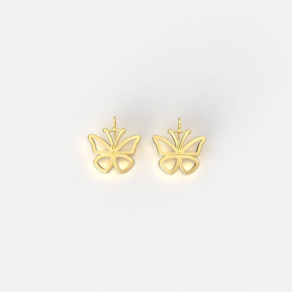 Beautiful Gold Butterfly Drop Earrings