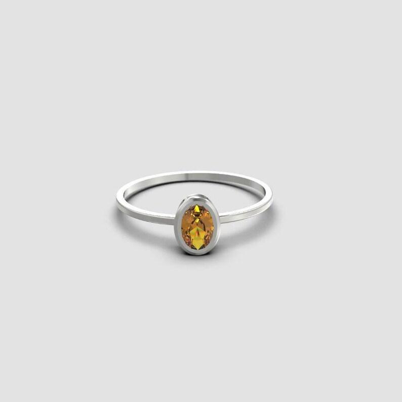 cf7aab220776b 925 Sterling Silver Citrine Ring 5x7 mm Oval Citrine Ring Silver Citrine  Promise Ring Yellow Citrine November Ring Oval Citrine Ring Thin