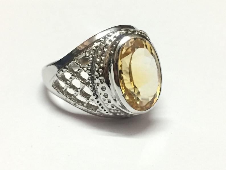 6449613298dd2 Silver Citrine Ring, Yellow Citrine Ring, Citrine Silver Ring, Mens Citrine  Ring 8x10 mm Natural Citrine Ring, Citrine Silver Ring by CJ