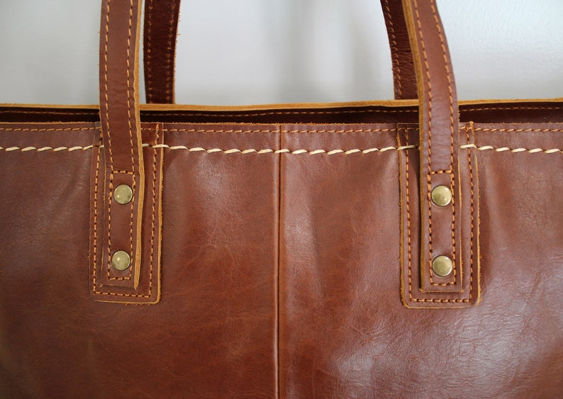 Handmade Women Leather Tote Bag With Zipper,Leather Shoulder Bag,Large genuine leather bag,Gift For Women