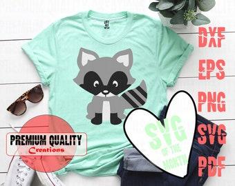 Raccoon SVG Files / Raccoon Clipart / Raccoon Cut File / Baby Raccoon SVG / Woodland Animals SVG   5type Svg/ dxf/ png/ eps/ pdf   PQC056