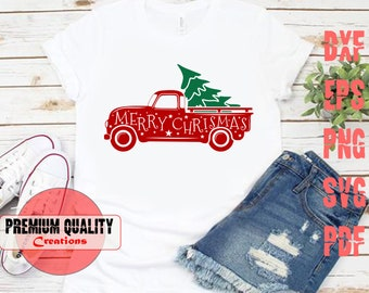 truck tree retro vintage winter holiday svg, merry christmas svg ,Christmas SVG Cutting File    4type Svg/ png/ eps/ pdf   PQC052