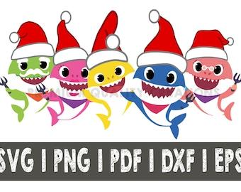 Baby shark SVG simple song baby shark daddy shark mommy shark grandma shark grandpa shark SVG files cut files, vector, Santa Shark Christmas