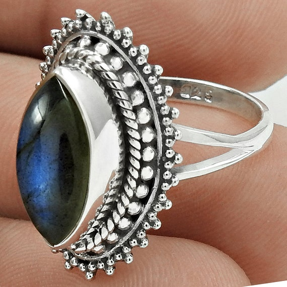 Silver Labradorite Ring  925 Sterling Silver  Marquise Setting  6 Grams  Silver Gemstone Ring  Natural Labradorite Ring