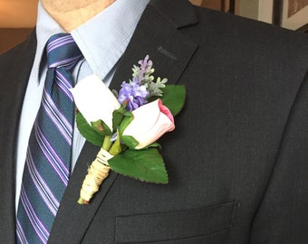 50e44dc51611 Rustic wedding boutonniere, Pink and white rose buds wedding boutonniere, Grooms  boutonnieres, Groomsmen boutonniere